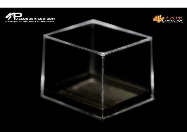 Box rettangolare trasparente fondo nero tipo museo -1